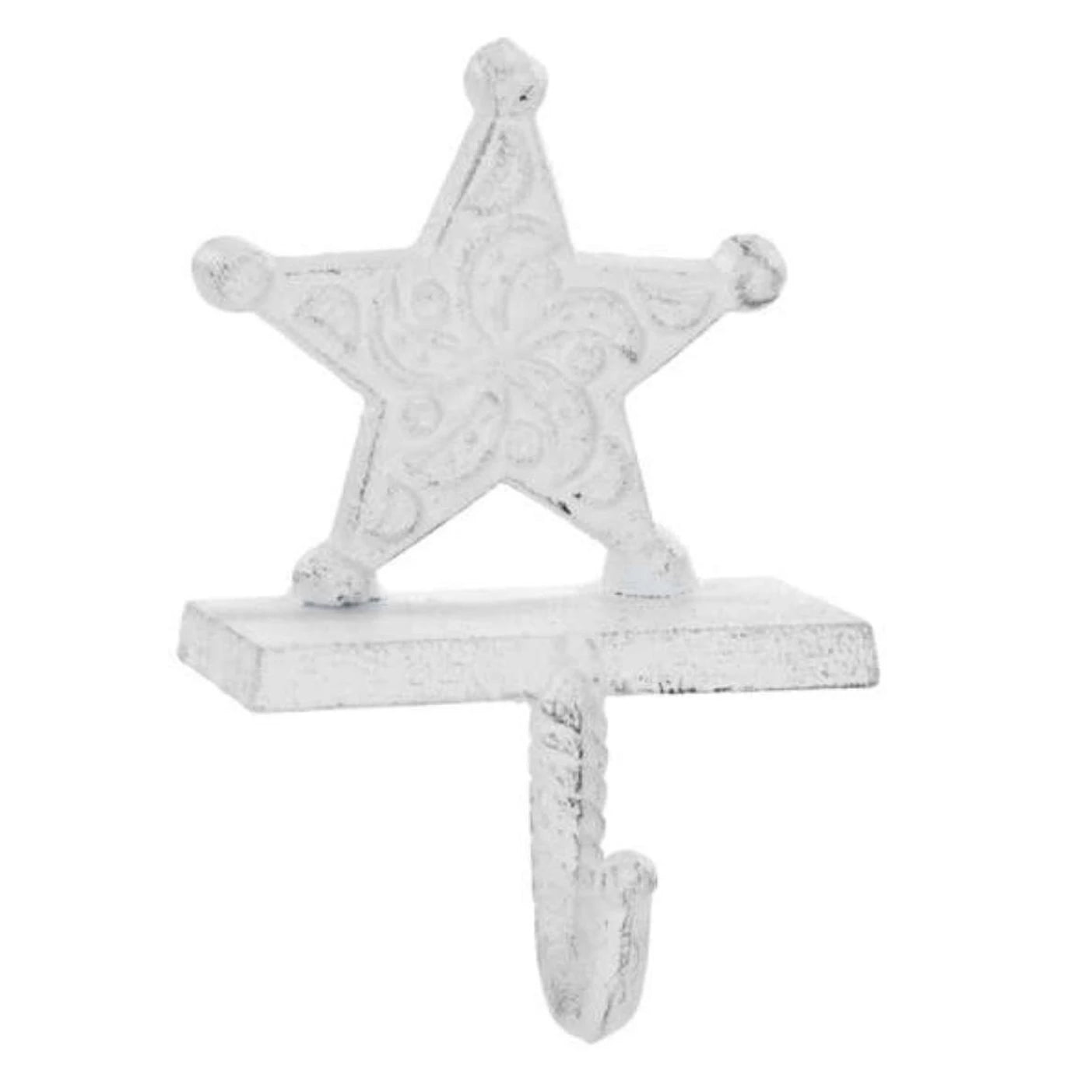 White Cast Iron Star Stocking Holder