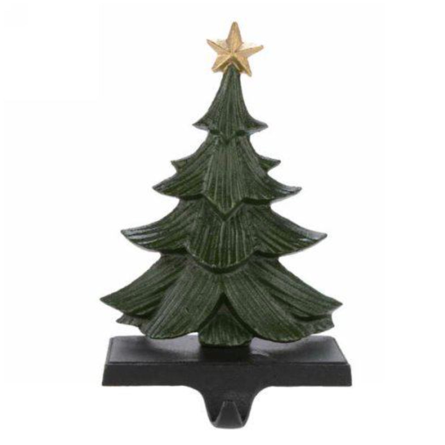 Green Cast Iron Christmas Tree Stocking Holder