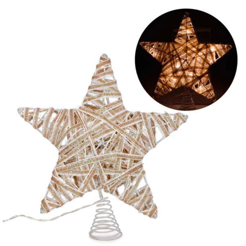 Gold Glitter Star LED Christmas Tree Topper