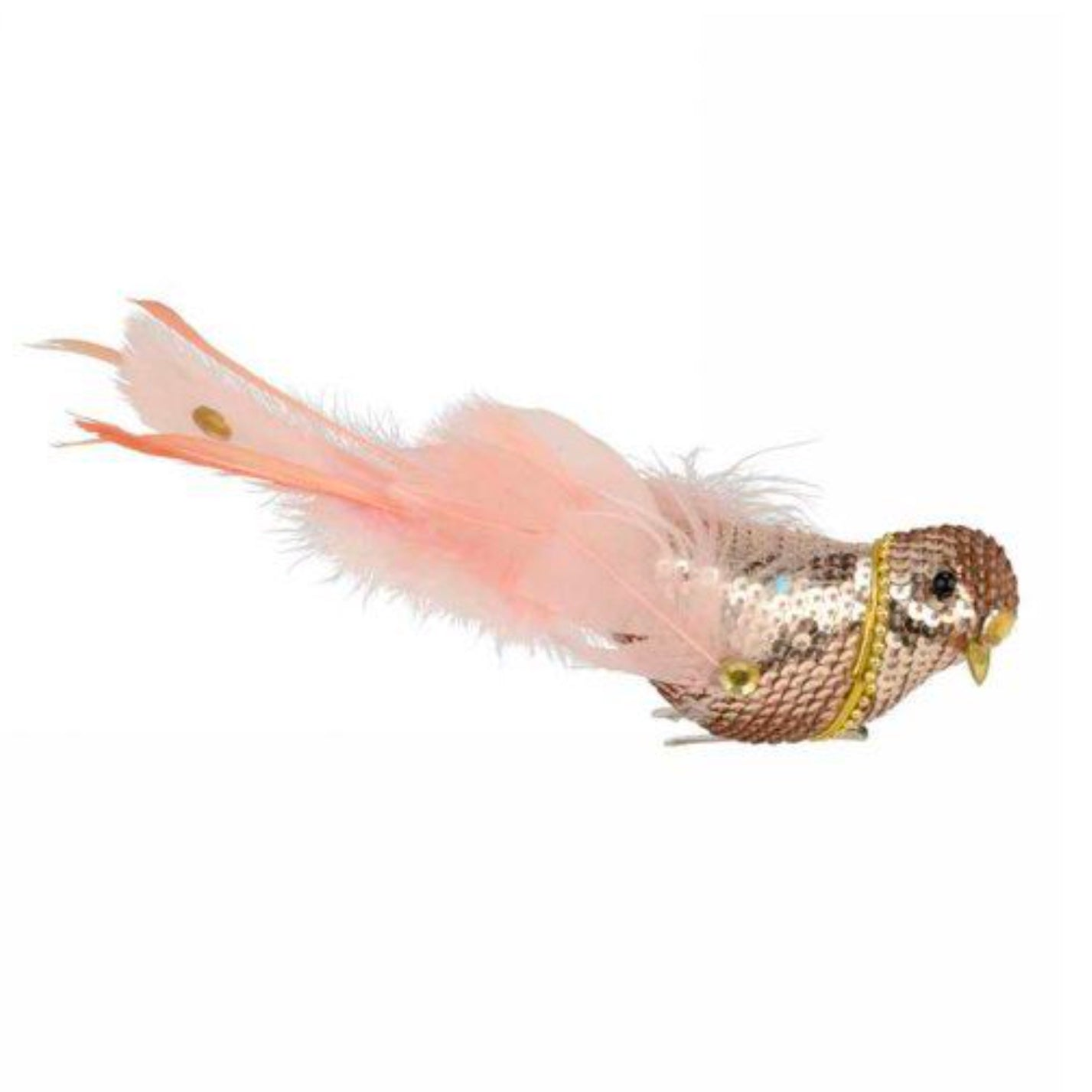 Champagne Sequin Bird with Pink Feathers