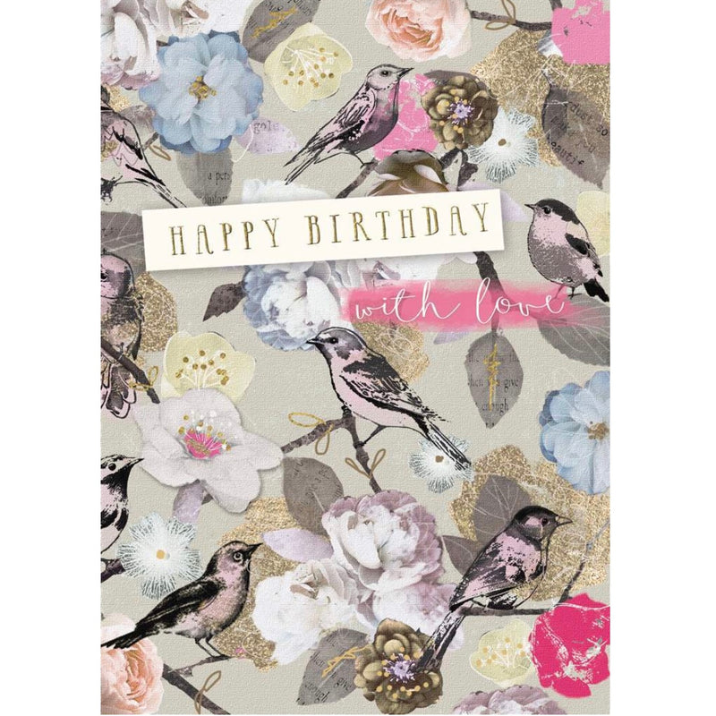 """Happy Birthday with Love""Floral Greeting Card 