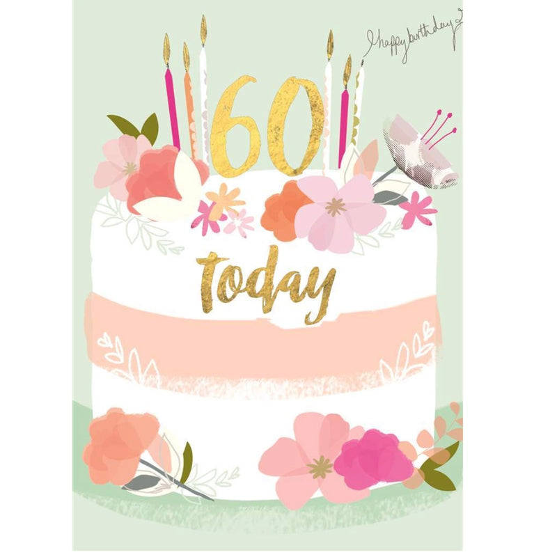 "Hammond Gower ""60 Today"" Birthday Cake Greeting Card 