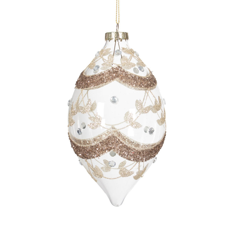 White with Champagne Glitter Glass Ornament
