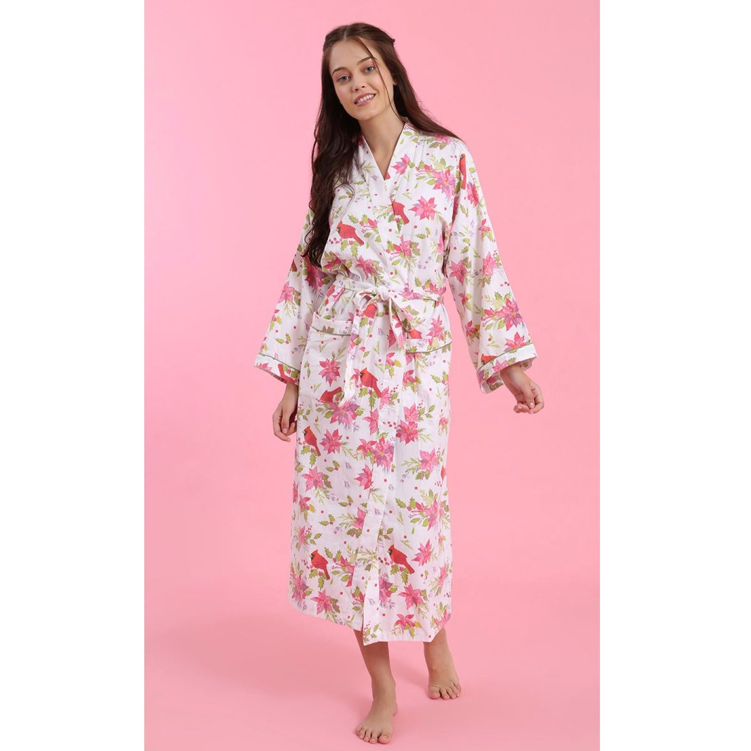 "Mahogany ""Poinsettia"" Flannel Robe"