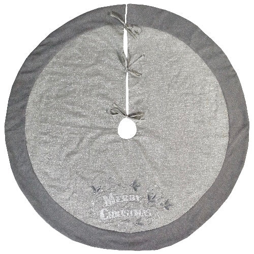 "Silver ""Merry Christmas"" Round Tree Skirt  