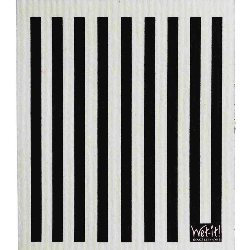 Wet it! Black & White Stripe Swedish Cloth | Putti Fine Furnishings