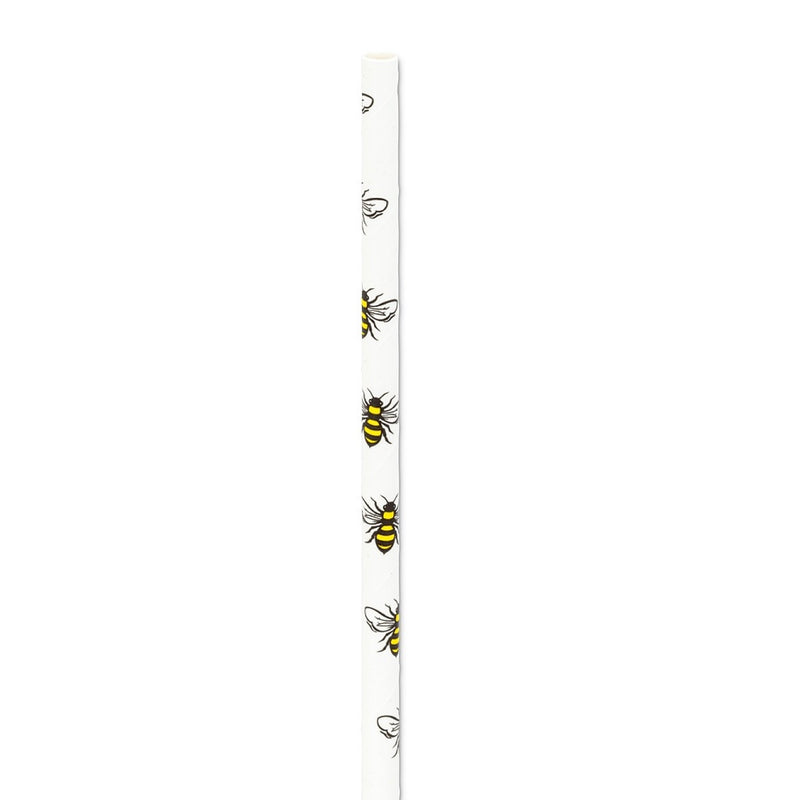 Straws with Bee Print - Box of 100 | Putti Party Supplies Canada