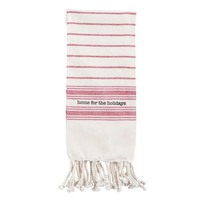 "Red and White ""home for the holidays"" Christmas Turkish Towel  Putti Celebrations"