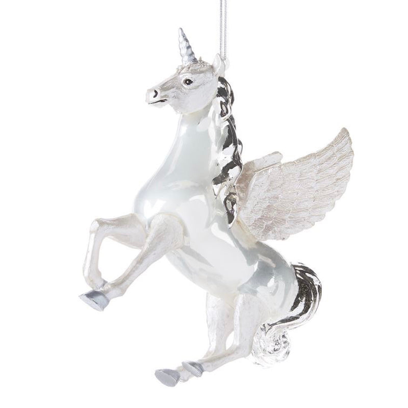 White Winged Unicorn Glass Ornament | Putti Christmas Celebrations