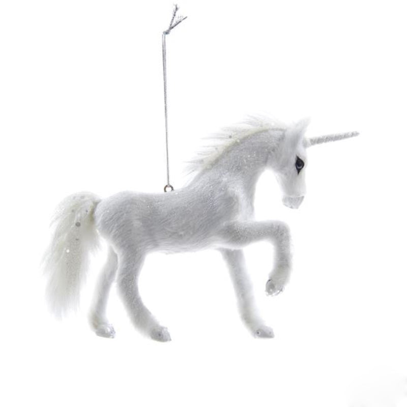 Kurt Adler Furry White Unicorn Ornament | Putti Christmas
