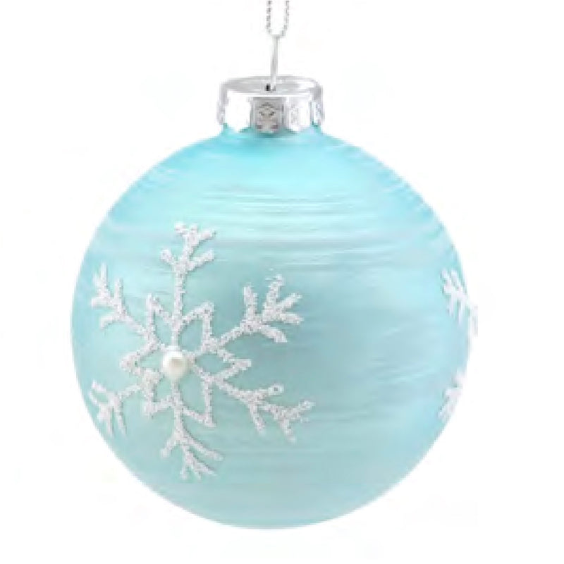Tiffany Blue with Snowflake Glass Ball Ornament | Putti Christmas Canada