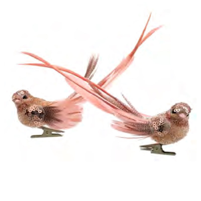 Rose Gold Feather Bird with Clip | Putti Christmas Canada
