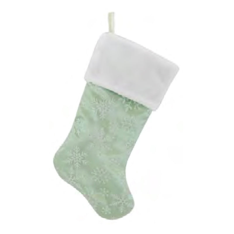 Sage Green Velvet Stocking with Snowflakes | Putti Christmas