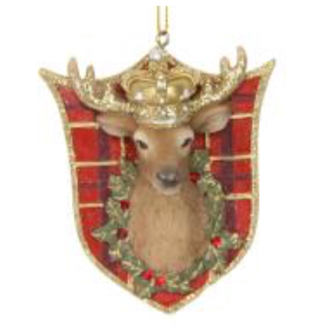 Stag Head on Shield Plaque Ornament