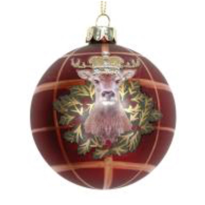 Gisela Graham Red Plaid with Stag Glass Ball Ornament | Putti Christmas Shop Canada