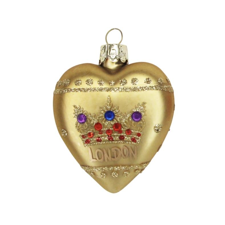 """London"" Glass Heart with Crown - Gold - Putti Christmas Canada"