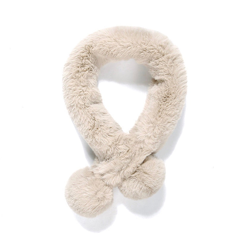 Beige Faux Fur Double Pom Pom Collar