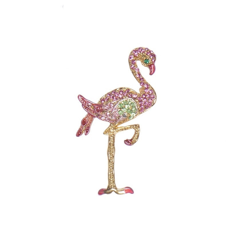 Powder Jewelled Pink Flamingo Brooch
