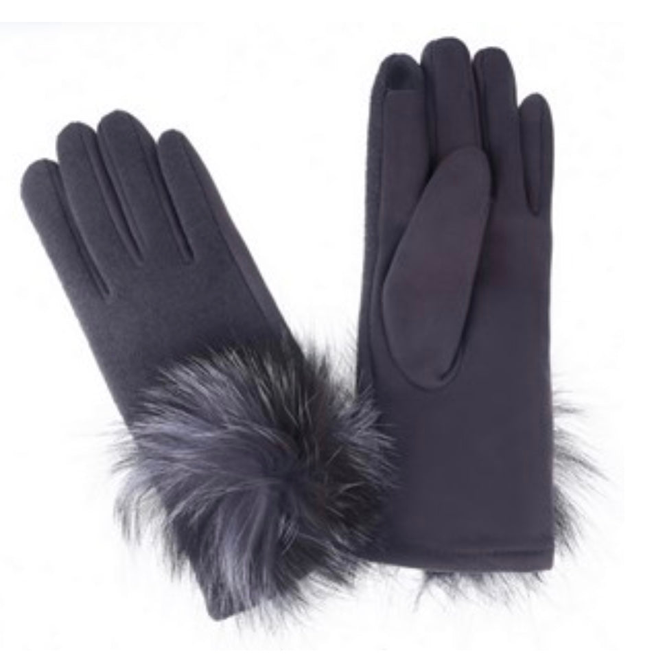 Charcoal Grey Gloves with Faux Fur Pom Pom | Putti Fine Fashions