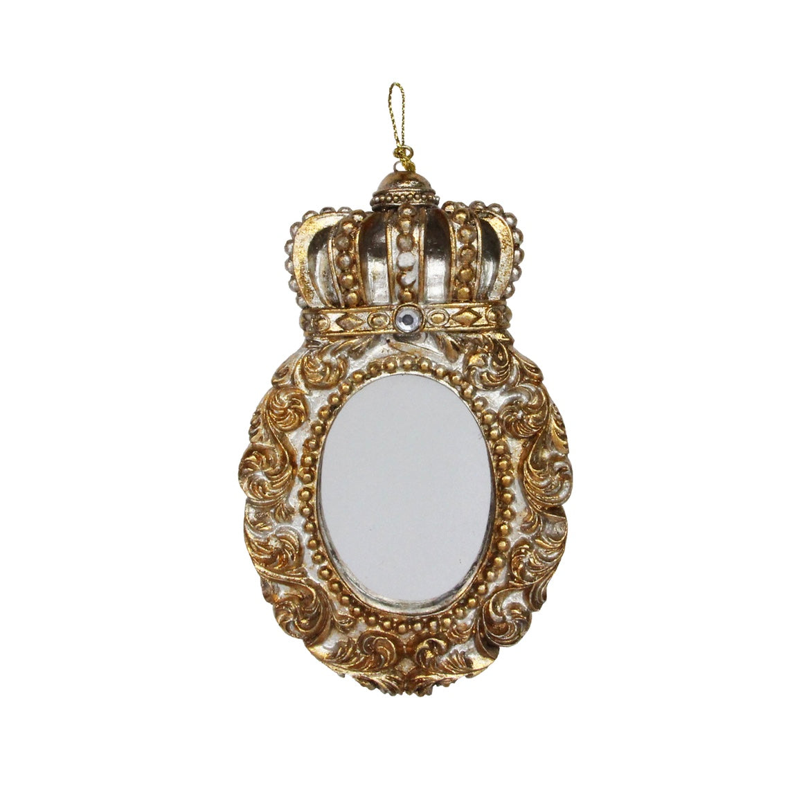 Gold Picture Frame with Crown Hanging Ornament - Oval  | Putti