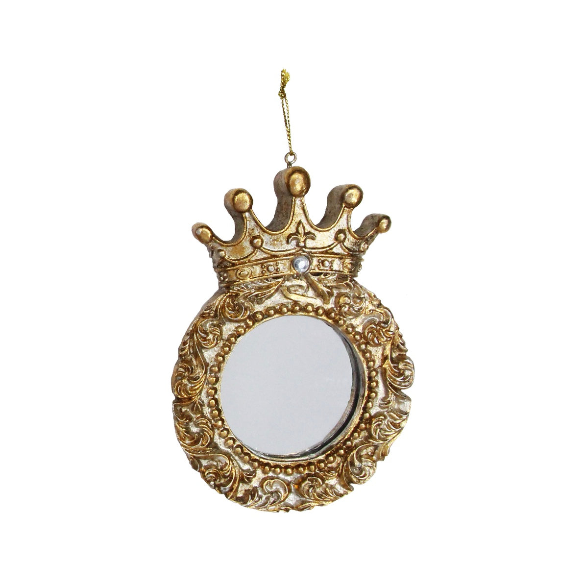 Gold Mirror with Crown Hanging Ornament - Round