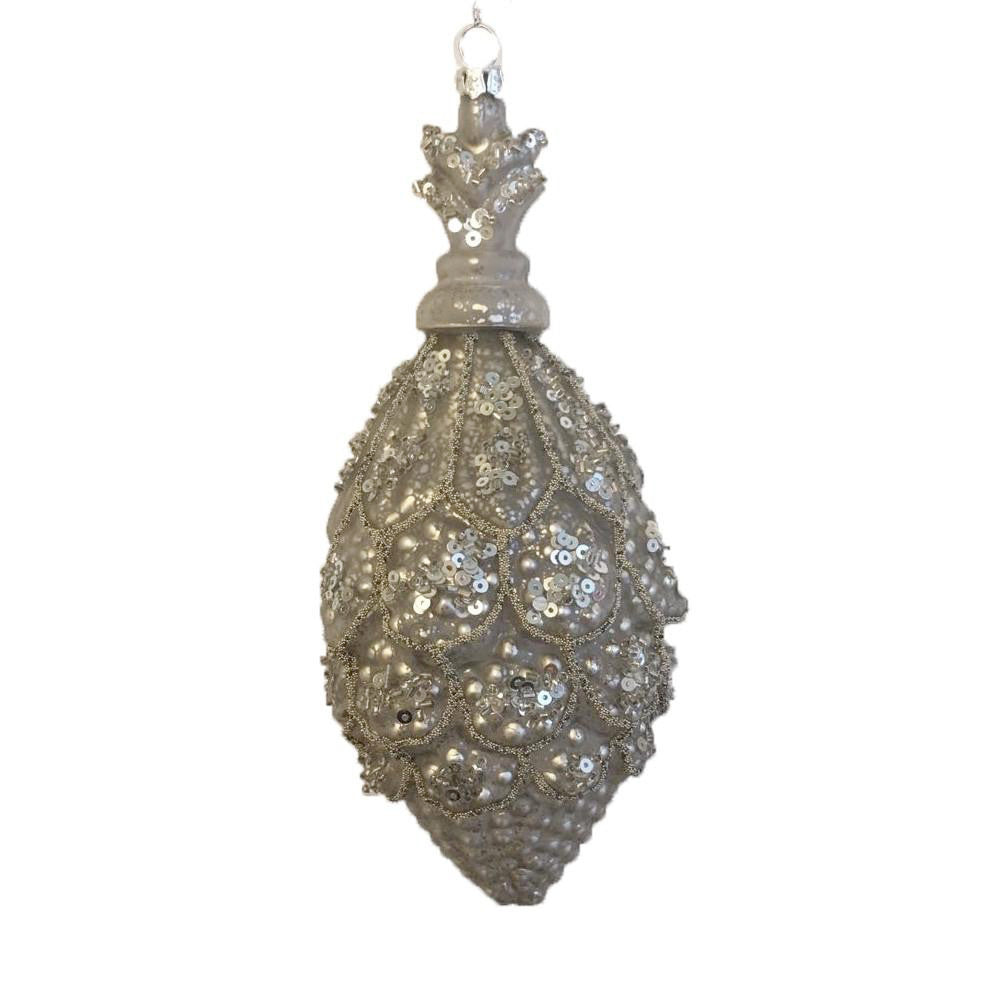 Jim Marvin Silver Pine Cone Finial Ornament