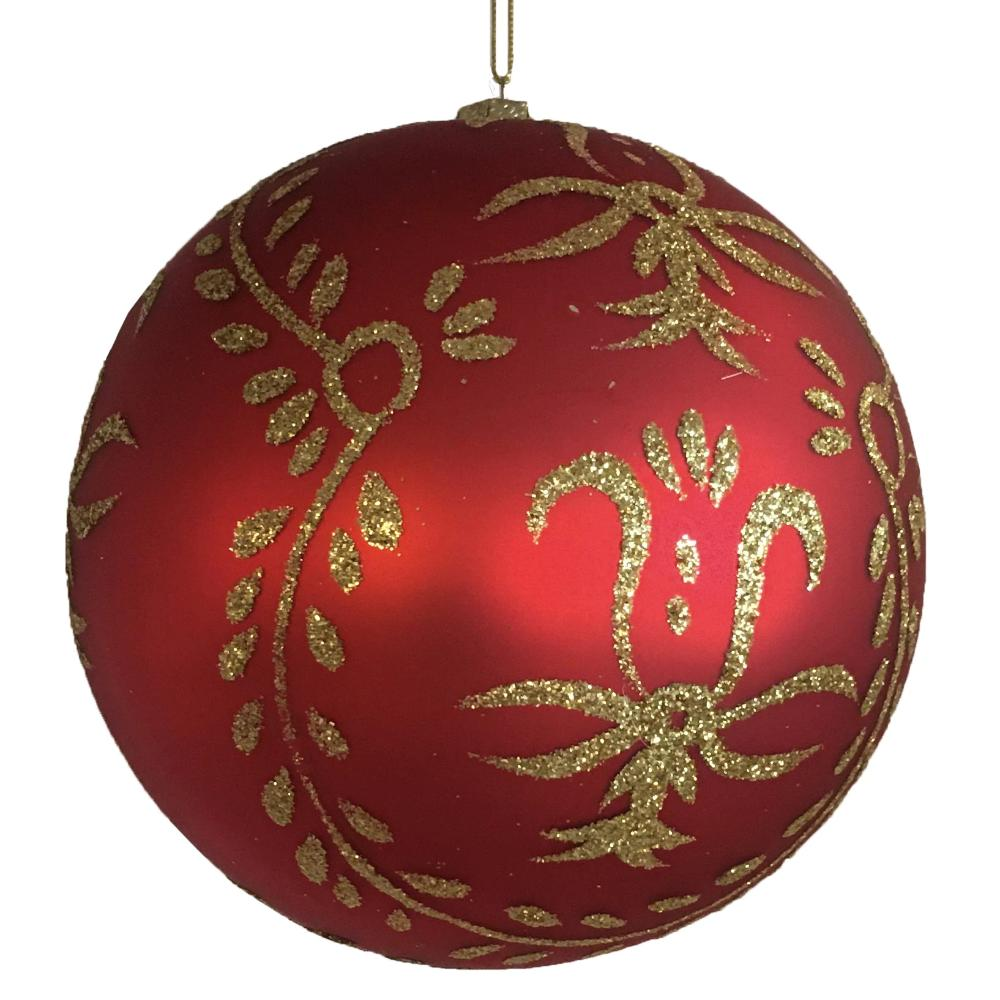 Large Matte Red with Gold Glitter Leaves Glass Ball Ornament