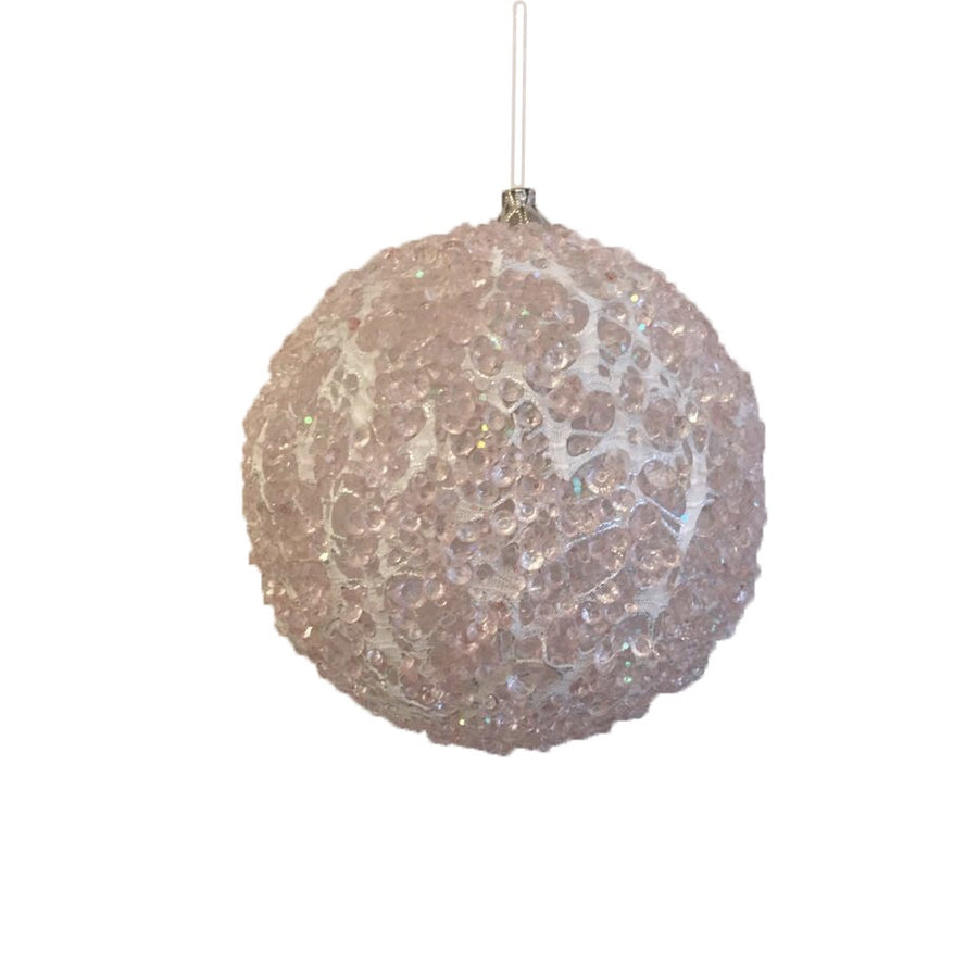 Jim Marvin Glass Ice Ball Ornament - Light Pink