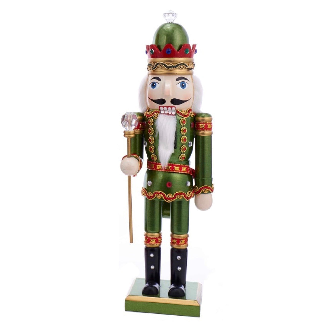 Wooden King Nutcracker - Green