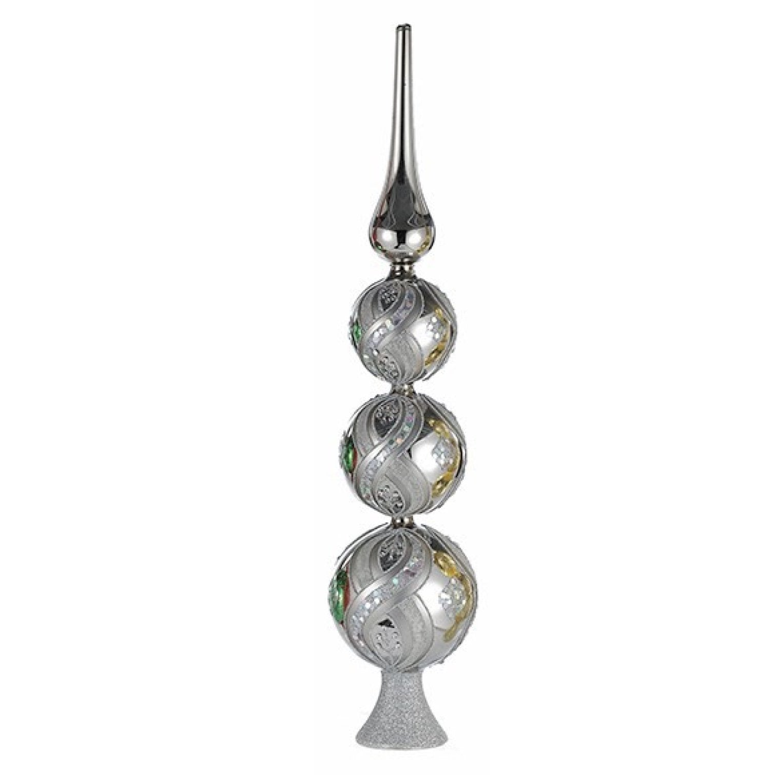 Kurt Adler Glass Finial Tree Topper Silver | Putti Christmas