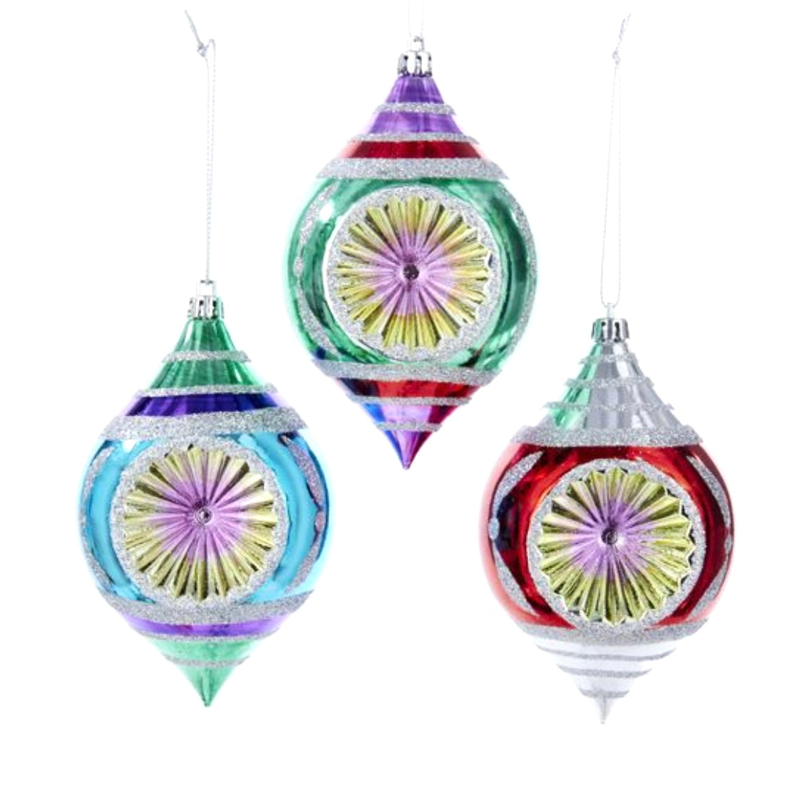 Plastic Multi-Color Reflector Double Point Ornaments, 3-Piece Box Set | Putti Christmas
