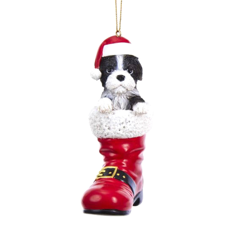 Kurt Adler Resin Dog in Santa Boot Ornament - Shitzu Black and White