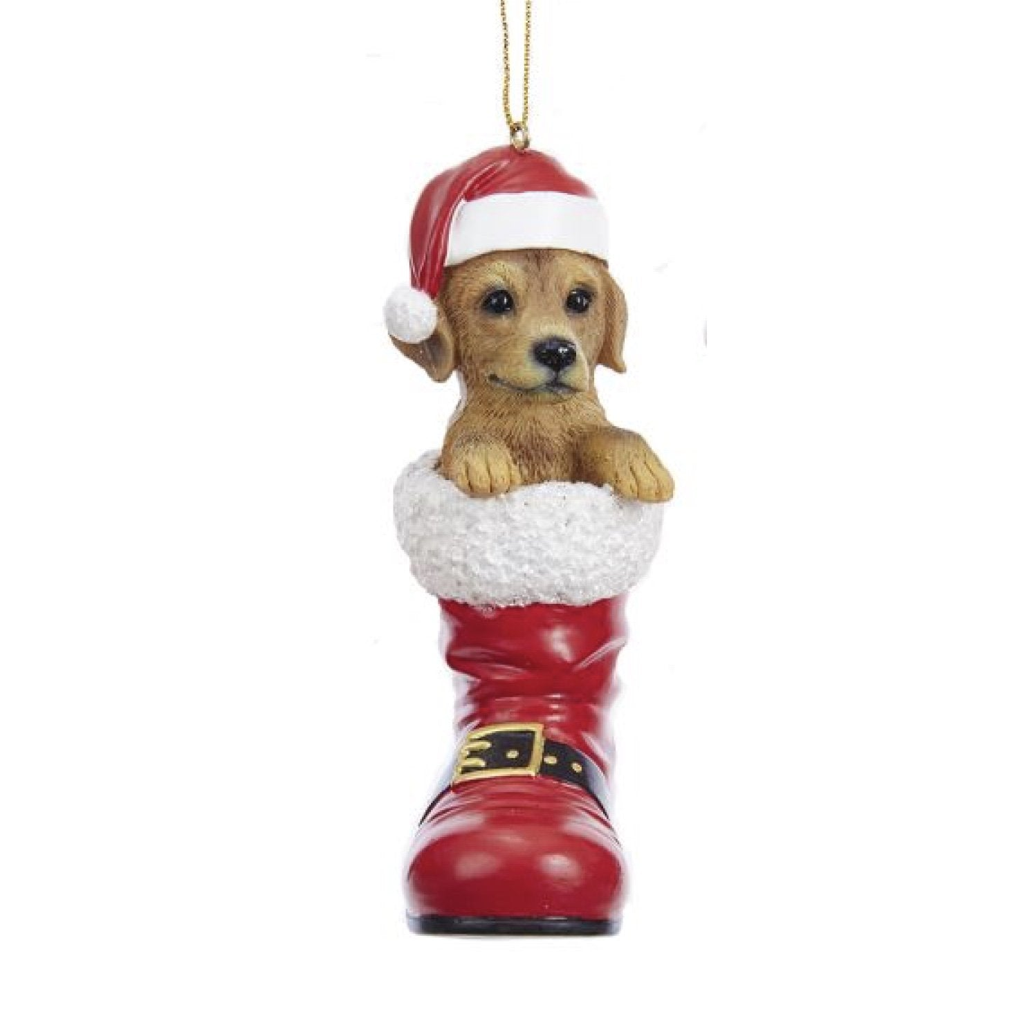 Resin Black Labrador Dog in Santa Boot Ornament | Putti Christmas Decorations