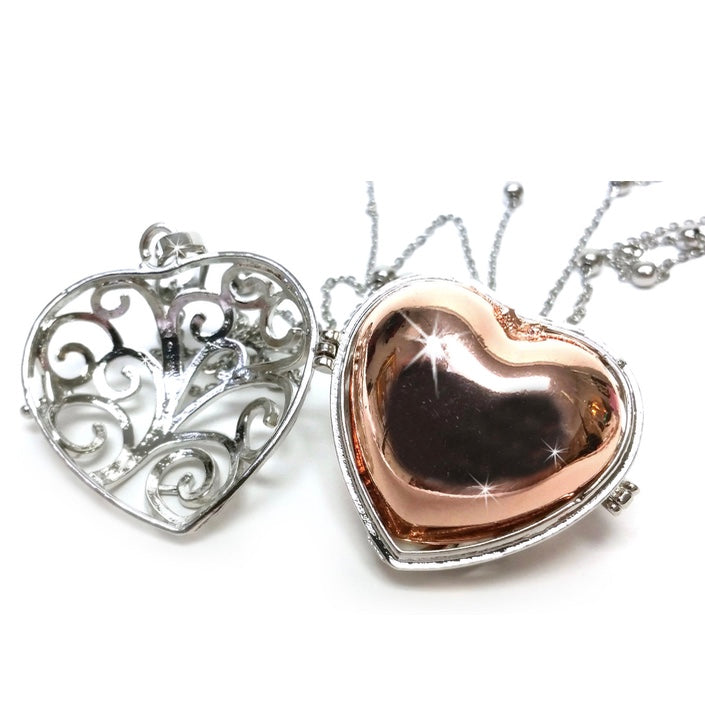 Jacqueline Kent Ornate Diffuser Heart Necklace Set - Silver