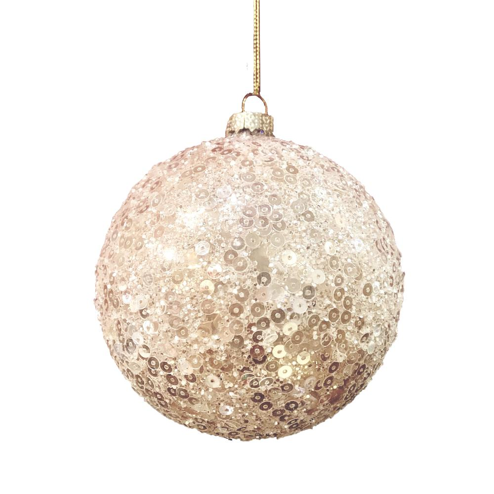 Blush Sequin Glass Ball Ornament | Putti Christmas Decorations