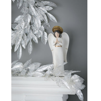 Bay and Lemon Leaf Silver Glitter Garland | Putti Fine Furnishings