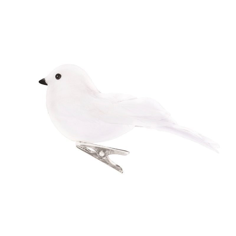 White Feather Bird with Clip | Putti Christmas Decorations