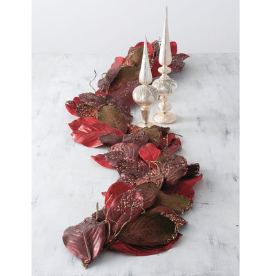 Red Magnolia Leaf Garland | Putti Christmas Decorations