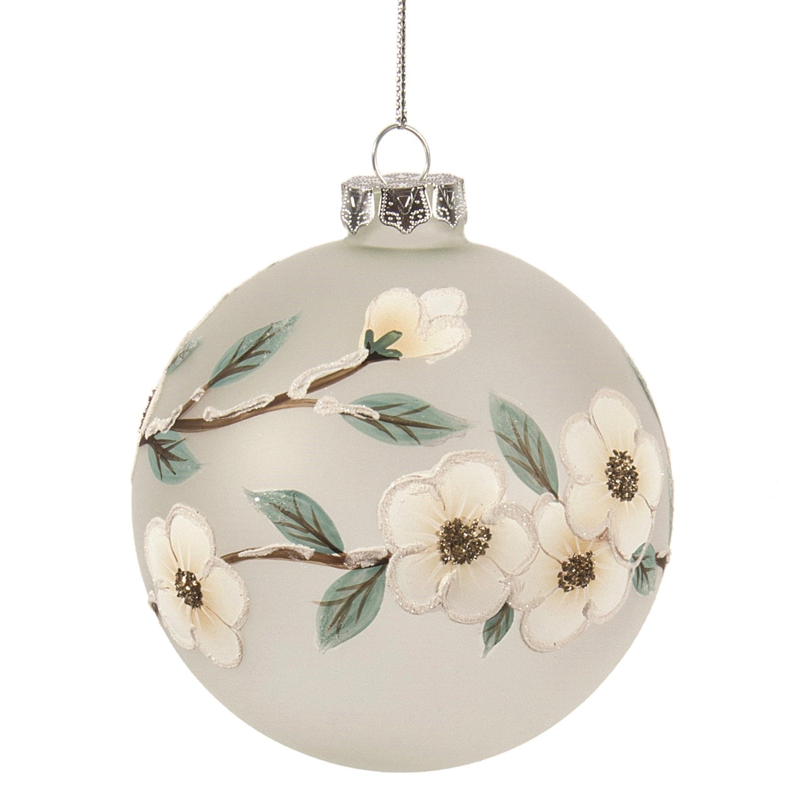 Frosted Glass Ball Ornament with Dogwood Flowers | Putti Christmas