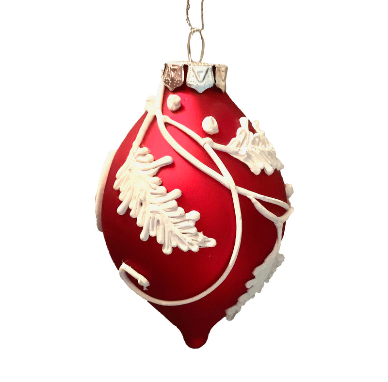 Red with White Icing Leaves Double Point Glass Ornament | Putti Christmas Decorations