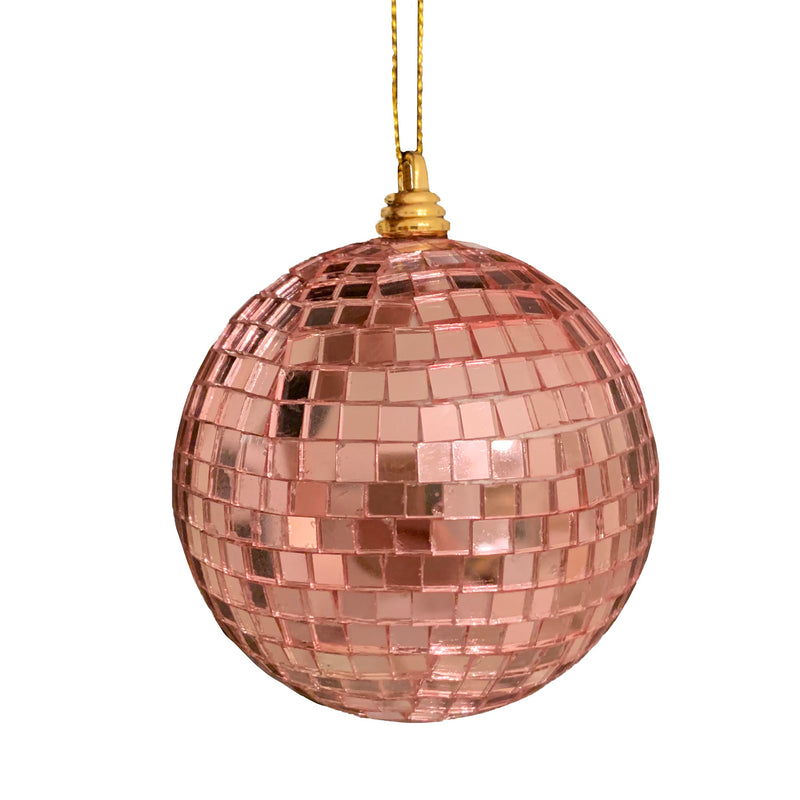 Pink Mirrored Disco Ball Ornament | Putti Christmas Decorations