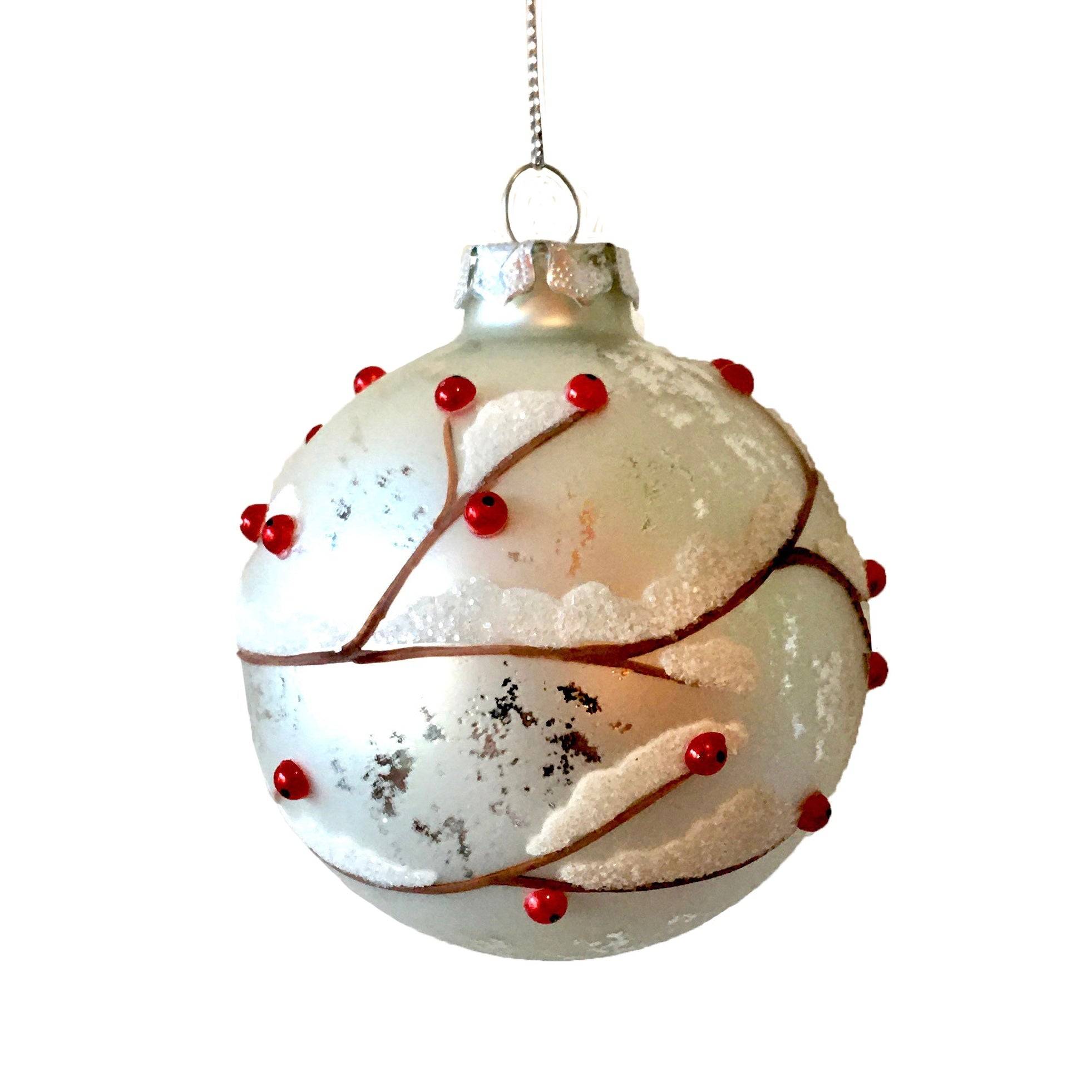 Matte White with Red Berries Glass Ball Ornament