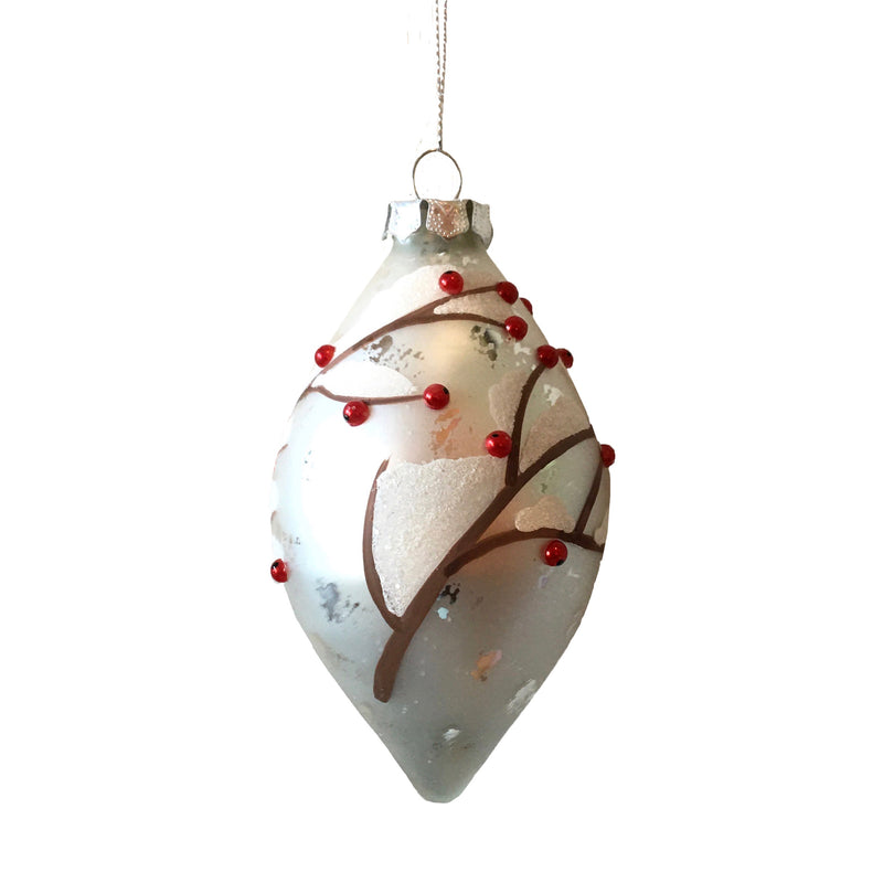 Matte White with Red Berries Glass Double Point Ornament