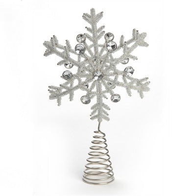 Silver Beaded Snowflake Tree Topper