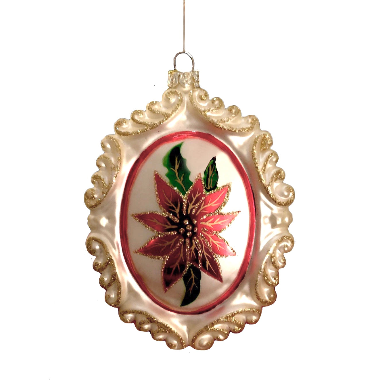 Red Poinsettia Glass Cameo Ornament  | Putti Christmas Celebrations