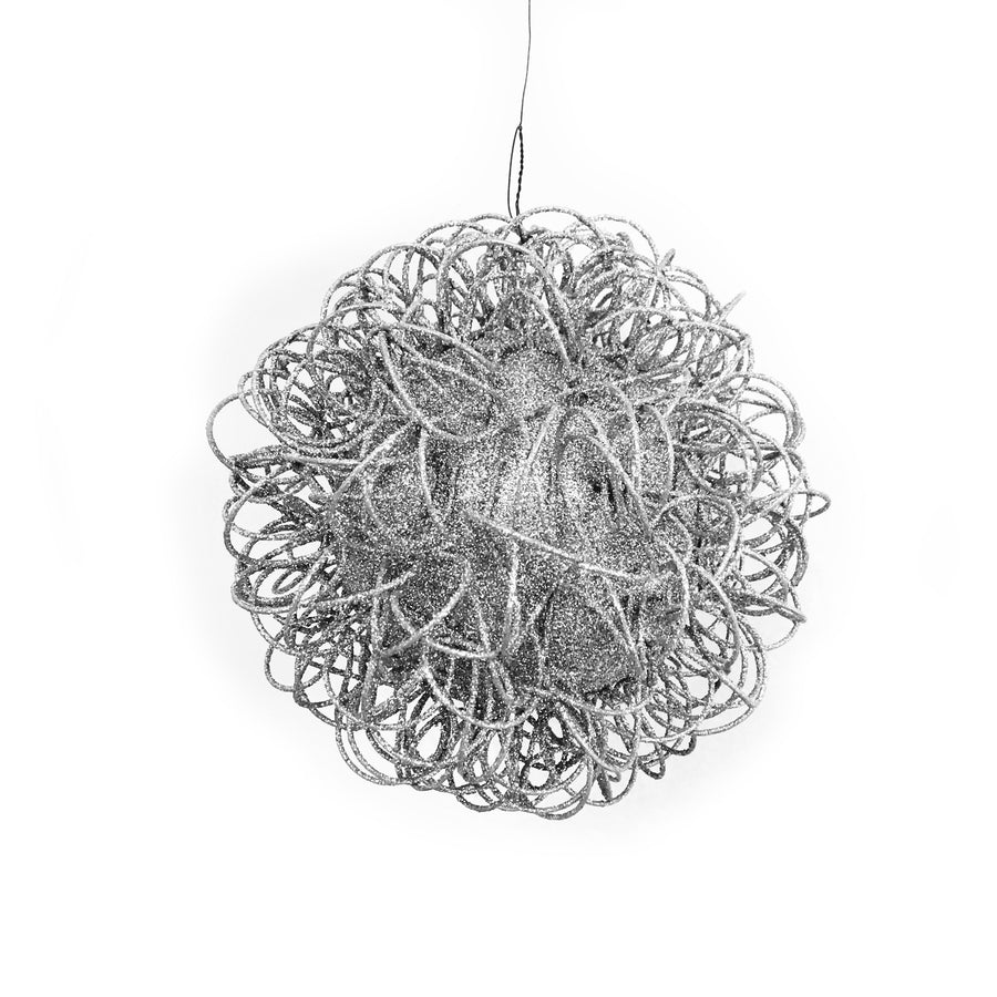 Jim Marvin Glitter Wire  Ball Ornament - Silver