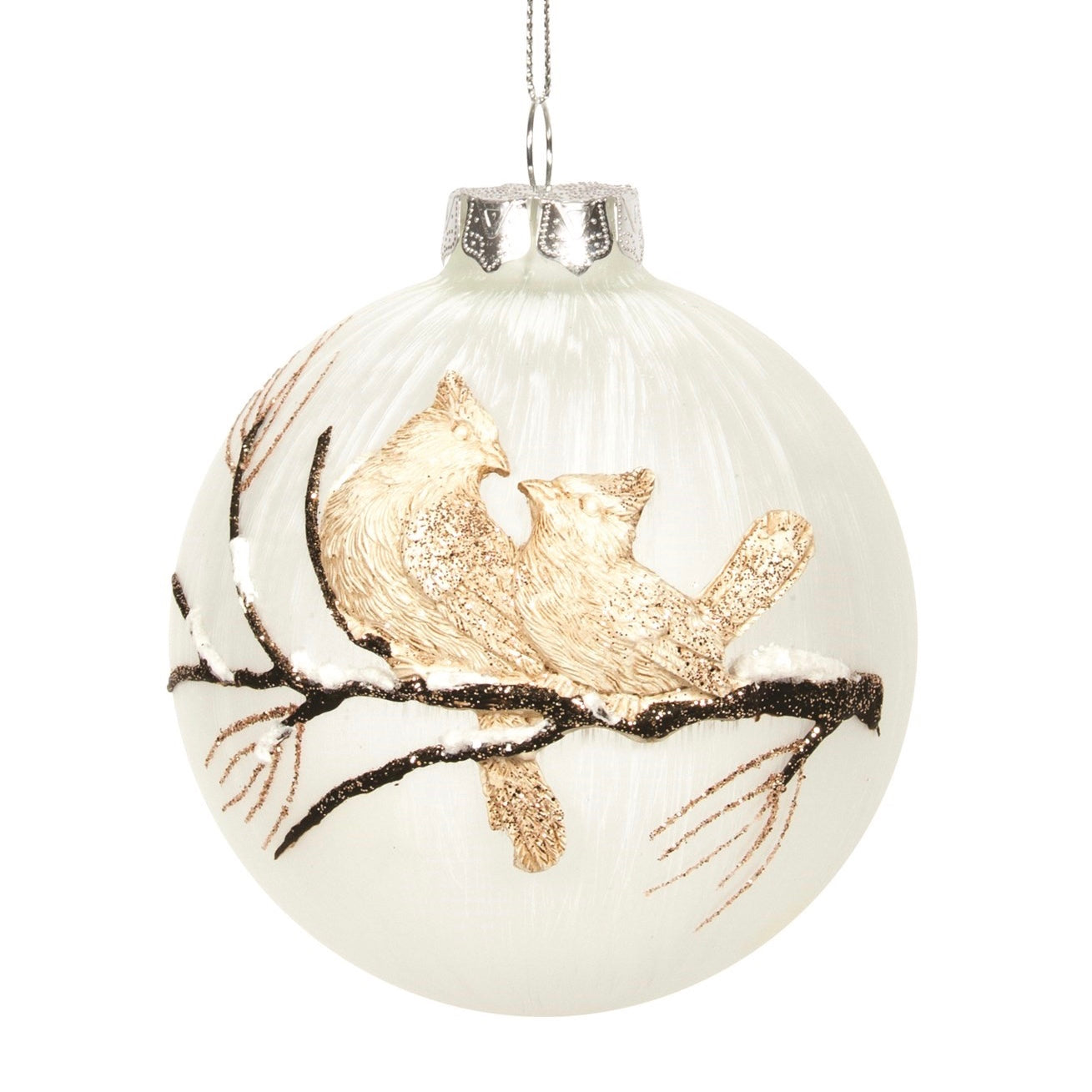 Off White Frosted with Tan Bird Glass Ball Ornament | Putti Christmas Decorations