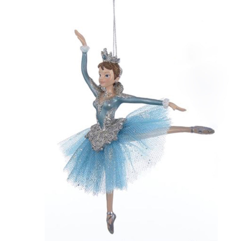 Kurt Adler Platinum and Teal Ballerina Ornament  | Putti Christmas Decorations