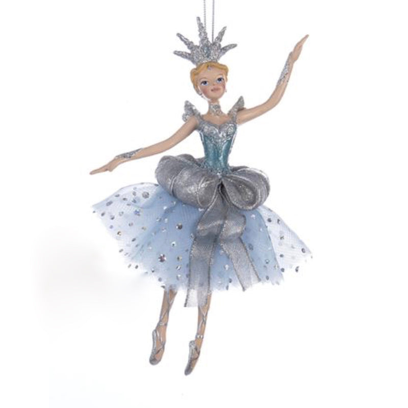 Kurt Adler Platinum and Teal Ballerina Ornament