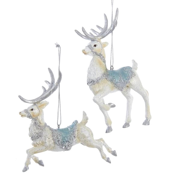 Kurt Adler Platinum and Teal Reindeer Ornaments | Putti Christmas Decorations